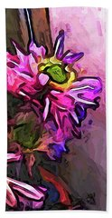 The Pink And Purple Flower By The Pale Pink Wall Beach Towel