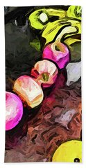The Pink Apples In A Curve With The Yellow Lemons Beach Sheet