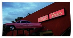 The Pink Cadillac Diner Beach Towel
