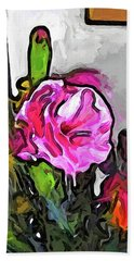 The Pink Flower With The Burgundy Buds Beach Towel