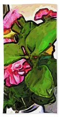 The Pink Flowers Behind The Green Leaves Beach Towel