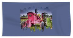 Beach Towel featuring the photograph The Pink Tractor At The Wooden Shoe Tulip Farm by Thom Zehrfeld