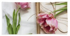 Beach Towel featuring the photograph The Pink Tulips by Kim Hojnacki