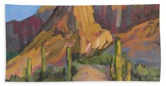 Beach Towel featuring the painting The Pinnacle At Goldfield Mountains by Diane McClary