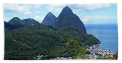 Beach Towel featuring the photograph The Pitons, St. Lucia by Kurt Van Wagner