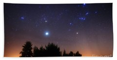 The Pleiades, Taurus And Orion Beach Towel