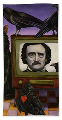 Beach Towel featuring the painting The Poe Show by Leah Saulnier The Painting Maniac