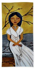 The Power Of The Rosary Religious Art By Saribelle Beach Towel by Saribelle Rodriguez