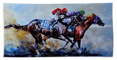 Beach Towel featuring the painting The Preakness Stakes by Hanne Lore Koehler