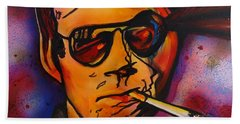 The Psycho-delic Suicide Of The Tambourine Man Beach Towel by Eric Dee