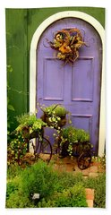 The Purple Door Beach Sheet by Michiale Schneider