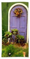 The Purple Door Beach Towel by Michiale Schneider