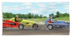 Beach Towel featuring the digital art The Racers by Gary Giacomelli