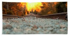 Beach Towel featuring the digital art The Railroad Tracks From A New Perspective by Chris Flees