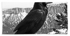 The Raven - Black And White Beach Towel