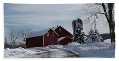 The Red Barn In The Snow Beach Sheet