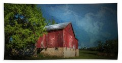Beach Towel featuring the photograph The Red Barn by Marvin Spates