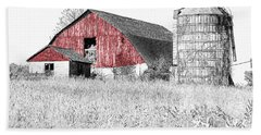 The Red Barn - Sketch 0004 Beach Towel
