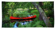 The Red Canoe On The Lake Beach Towel