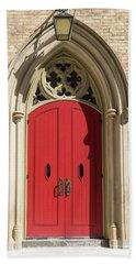 The Red Church Door. Beach Towel