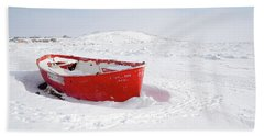 The Red Fishing Boat Beach Towel