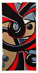 Red And Black Abstract Art Painting Beach Towel