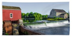 The Red Mill  On The Raritan River - Clinton New Jersey  Beach Sheet by Bill Cannon