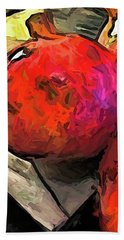 The Red Pomegranates On The Marble Chopping Board Beach Towel