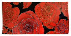 The Red Red Roses Beach Towel