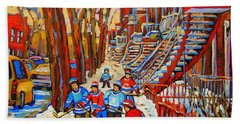 The Red Staircase Painting By Montreal Streetscene Artist Carole Spandau Beach Sheet by Carole Spandau