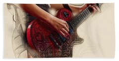 The Red Tour Guitar Beach Towel by Don Kuing