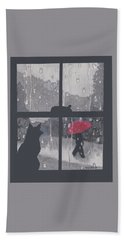 Beach Towel featuring the painting The Red Umbrella by Quwatha Valentine