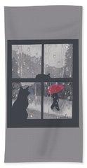 The Red Umbrella Beach Sheet by Quwatha Valentine