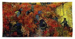 Beach Towel featuring the painting The Red Vineyard At Arles by Van Gogh