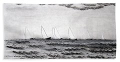 Beach Towel featuring the drawing The Regatta by J R Seymour
