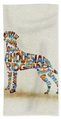 Beach Sheet featuring the painting The Rhodesian Ridgeback Dog Watercolor Painting / Typographic Art by Inspirowl Design