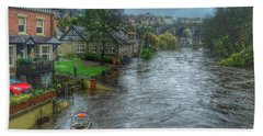 The River Nidd In Flood At Knaresborough Beach Towel