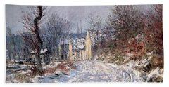 The Road To Giverny In Winter Beach Towel