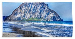 The Rock At Morro Bay Large Canvas Art, Canvas Print, Large Art, Large Wall Decor, Home Decor, Photo Beach Towel by David Millenheft