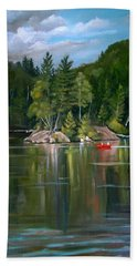The Rock On Mirror In Woodstock New Hampshire Beach Towel by Nancy Griswold
