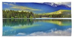 Beach Sheet featuring the photograph The Rockies Reflected In Lake Annette by Tara Turner
