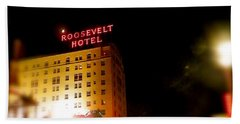 The Roosevelt Hotel By David Pucciarelli  Beach Sheet by Iconic Images Art Gallery David Pucciarelli