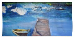 Beach Towel featuring the painting The Rowboat by Gary Smith
