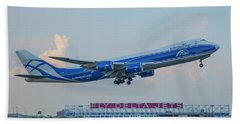 The Russian Connection Air Bridge Cargo Abc B747-8f Cargo Jet Art Beach Towel