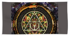 Beach Towel featuring the digital art The Sacred Alchemy Of Life by Iowan Stone-Flowers