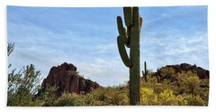The Saguaro Against The Sky Beach Sheet by Kirt Tisdale