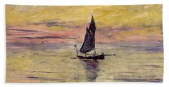 The Sailing Boat Evening Effect Beach Towel