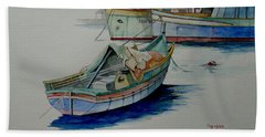 Beach Sheet featuring the painting The San George by Ray Agius