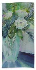 Flowers - White Roses Beach Towel