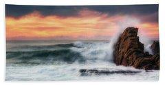 The Sea Against The Rock Beach Towel